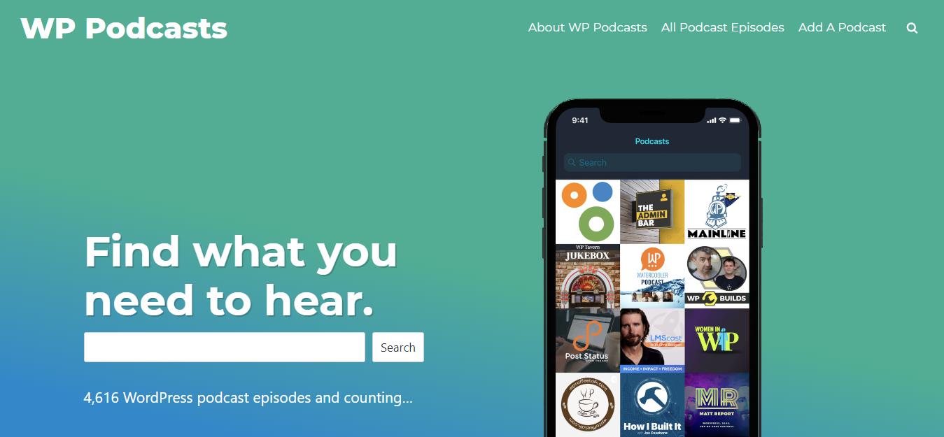 WP Podcasts, Screenshot: www.wppodcasts.com
