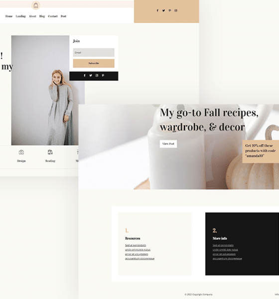 Download a FREE Header & Footer for Divi's Blogger Layout Pack