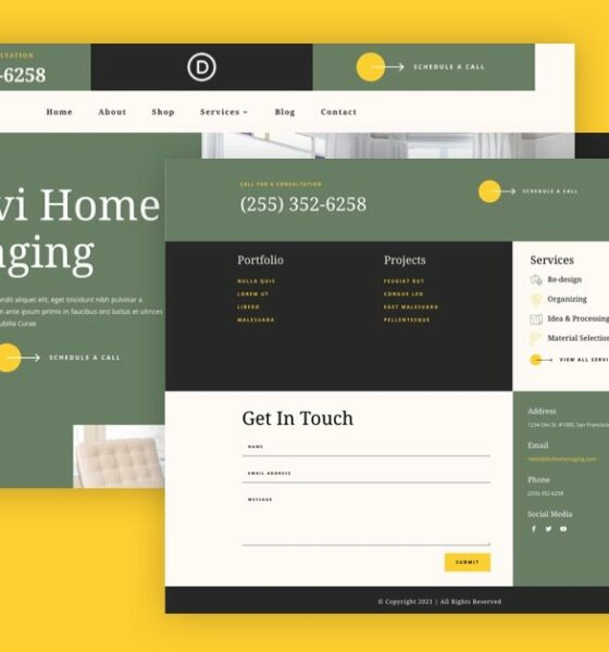 Download a FREE Header and Footer Template for Divi's Staging Home Layout Pack