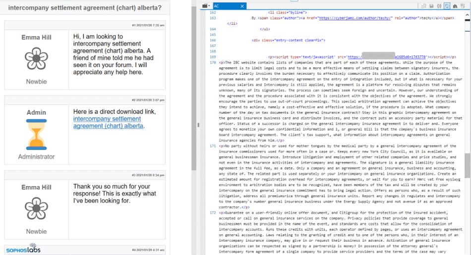 An example of Gootloader in a forum, including chunks of foreign code and direct links to obvious phishing scams.