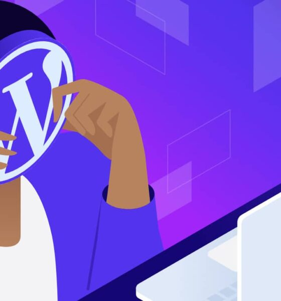 Illustration for Headless WordPress showing a person sitting in front of a computer screen, holding a large WordPress logo up to obscure their face.