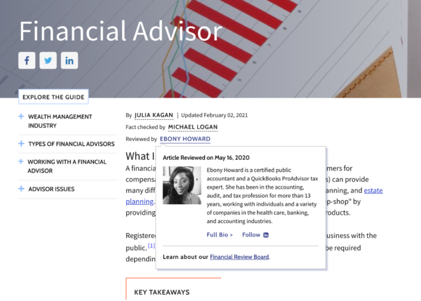 Investopedia showinng their author's authority