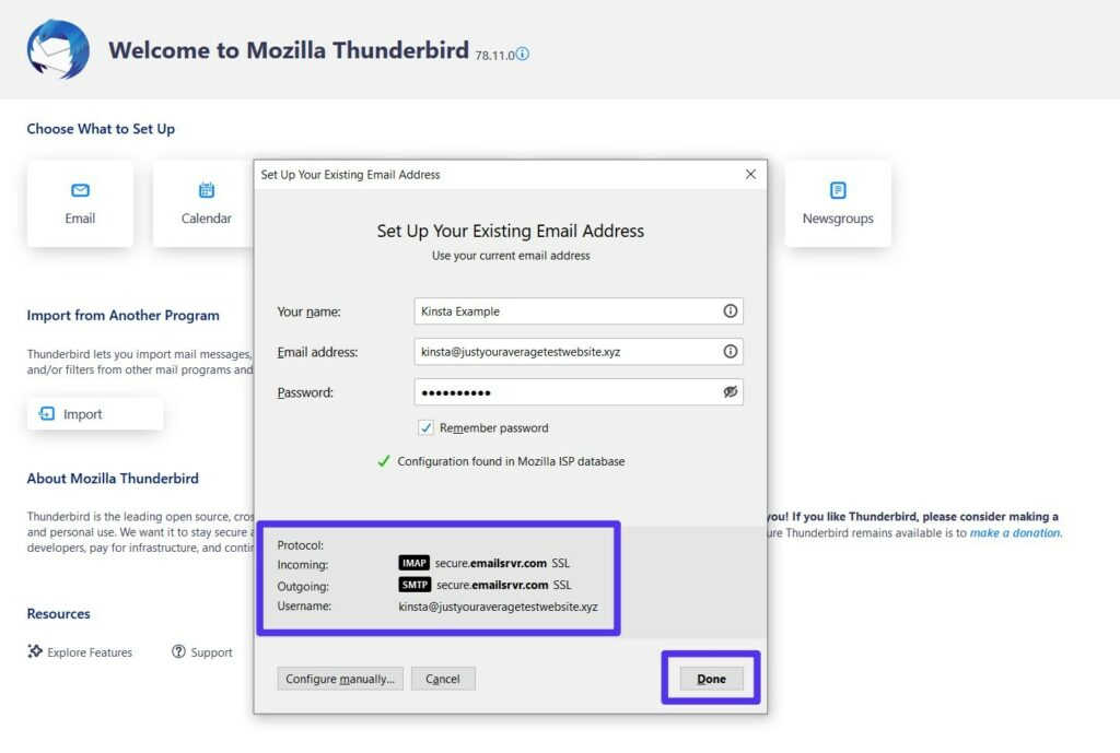Thunderbird automatically configures the protocols — just click