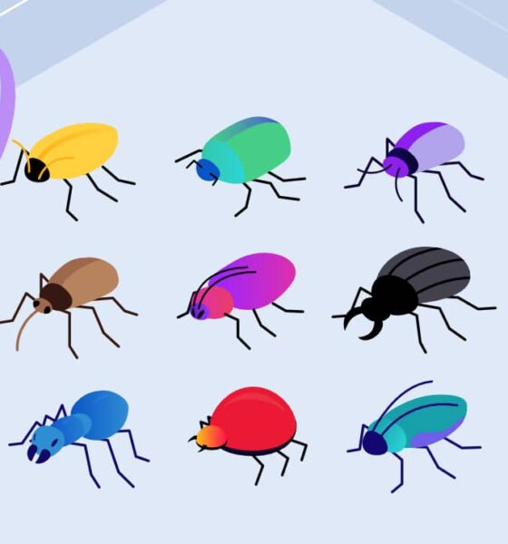 Illustration for types of Malware showing two people examining a colorful array of insects.