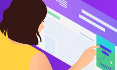 Illustration for WordPress Accessibility showing a person interacting with a website.